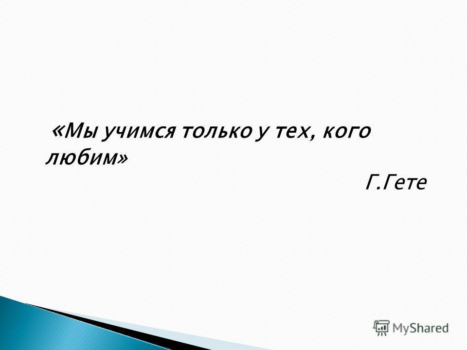 « Мы учимся только у тех, кого любим» Г.Гете