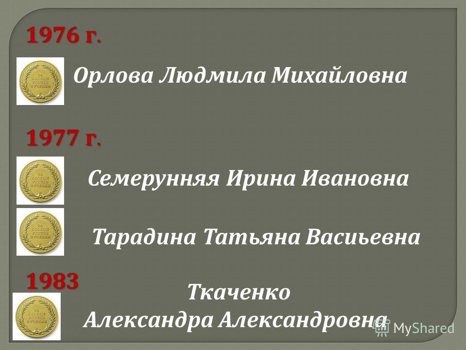Орлова Людмила Михайловна Семерунняя Ирина Ивановна 1976 г. 1977 г. Тарадина Татьяна Васиьевна 1983 г. Ткаченко Александра Александровна