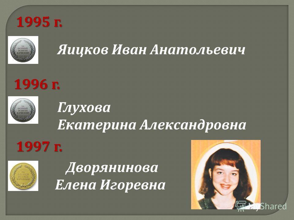 Яицков Иван Анатольевич 1995 г. 1996 г. Глухова Екатерина Александровна 1997 г. Дворянинова Елена Игоревна