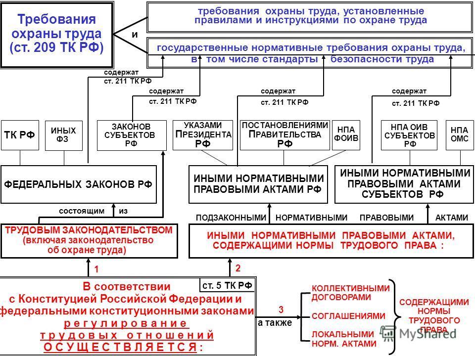 Требования охраны труда (ст. 209 ТК РФ) требования охраны труда, установленные правилами и инструкциями по охране труда государственные нормативные требования охраны труда, в том числе стандарты безопасности труда В соответствии с Конституцией Россий