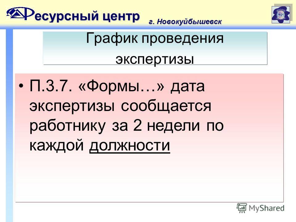 есурсный центр г. Новокуйбышевск График проведения экспертизы П.3.7. «Формы…» дата экспертизы сообщается работнику за 2 недели по каждой должности