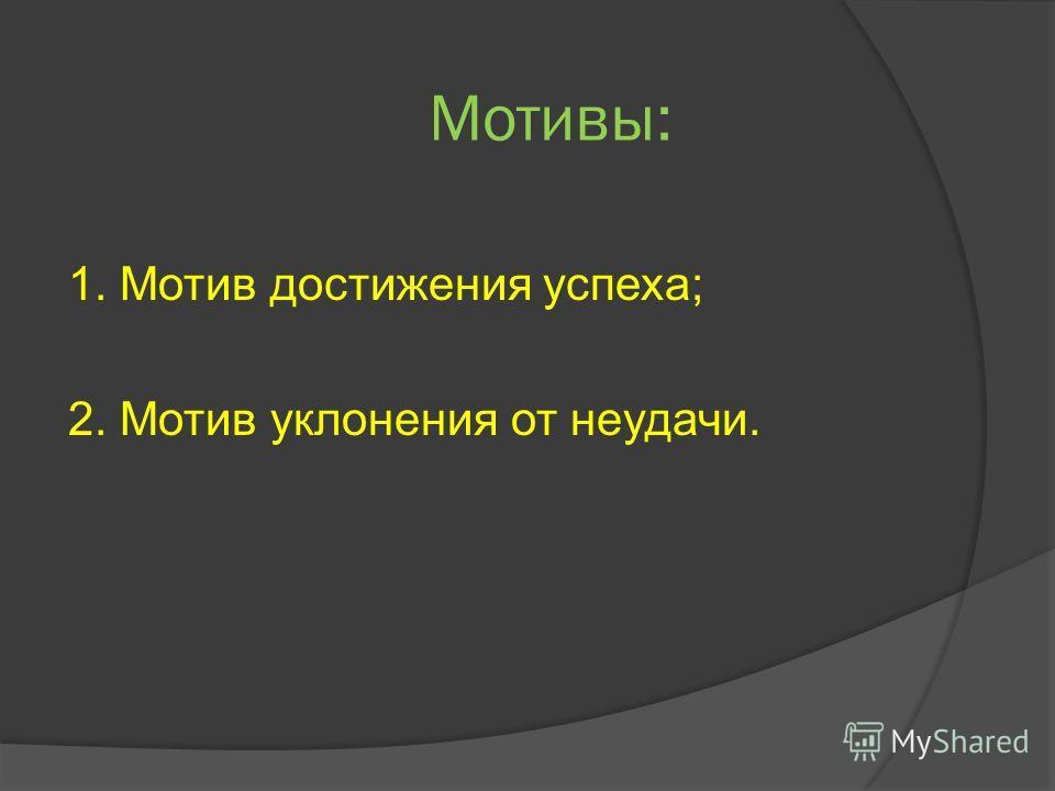 Мотивы: 1. Мотив достижения успеха; 2. Мотив уклонения от неудачи.