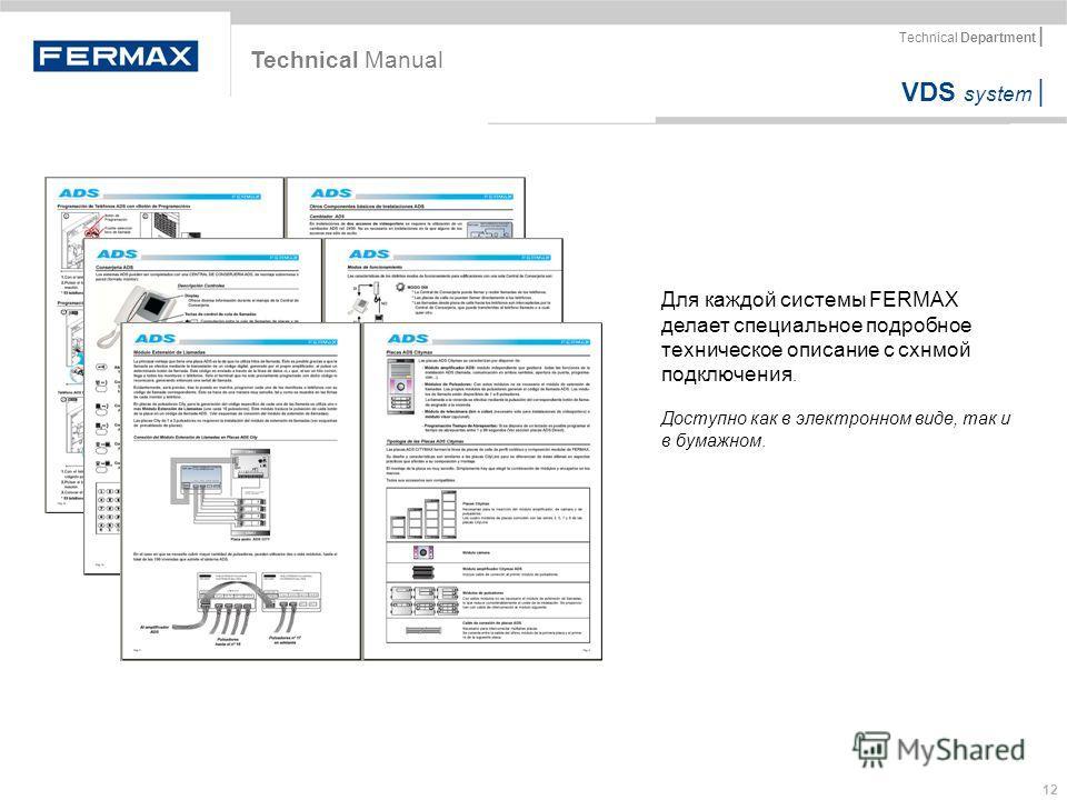 VDS system | Technical Department | 12 Для каждой системы FERMAX делает специальное подробное техническое описание с схнмой подключения. Доступно как в электронном виде, так и в бумажном. Technical Manual