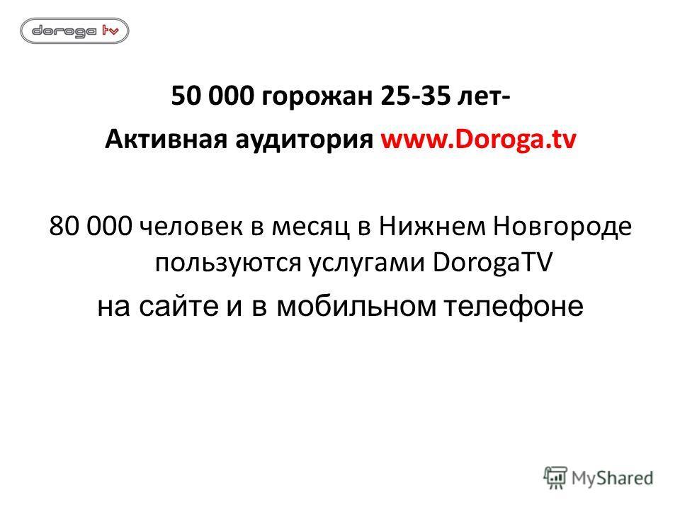 50 000 горожан 25-35 лет- Активная аудитория www.Doroga.tv 80 000 человек в месяц в Нижнем Новгороде пользуются услугами DorogaTV на сайте и в мобильном телефоне