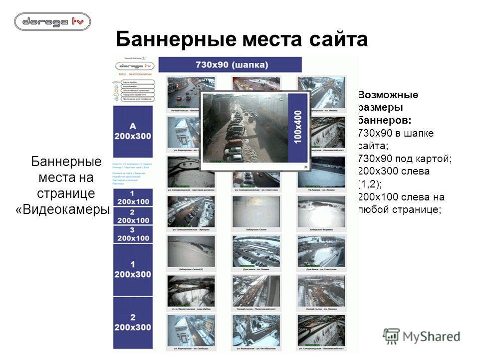 Баннерные места на странице «Видеокамеры» Возможные размеры баннеров: 730х90 в шапке сайта; 730х90 под картой; 200х300 слева (1,2); 200х100 слева на любой странице; Баннерные места сайта
