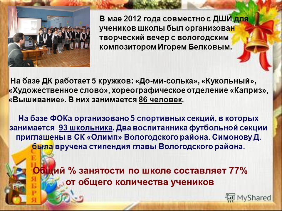 В мае 2012 года совместно с ДШИ для учеников школы был организован творческий вечер с вологодским композитором Игорем Белковым. На базе ДК работает 5 кружков: «До-ми-солька», «Кукольный», «Художественное слово», хореографическое отделение «Каприз», «