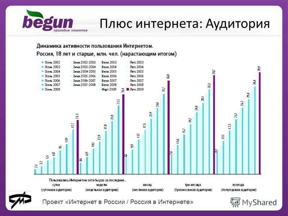 Проект «Интернет в России / Россия в Интернете» Плюс интернета: Аудитория