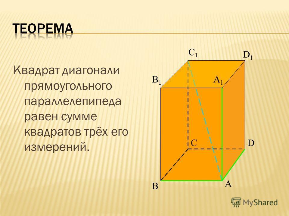 Квадрат диагонали прямоугольного параллелепипеда равен сумме квадратов трёх его измерений. A B CD B1B1 C1C1 D1D1 A1A1