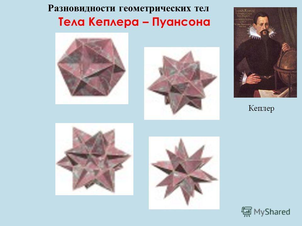 Разновидности геометрических тел Тела Кеплера – Пуансона Кеплер