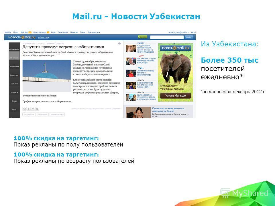 Mail.ru - Новости Узбекистан Из Узбекистана: Более 350 тыс посетителей ежедневно* *по данным за декабрь 2012 г 100% скидка на таргетинг: Показ рекламы по полу пользователей 100% скидка на таргетинг: Показ рекламы по возрасту пользователей
