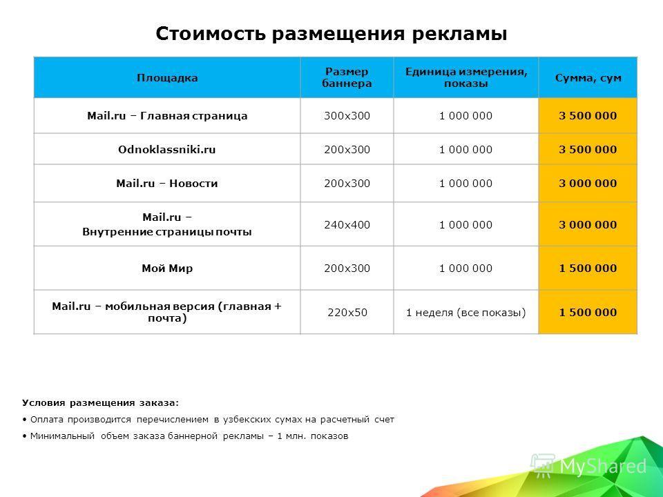 Стоимость размещения рекламы Условия размещения заказа: Оплата производится перечислением в узбекских сумах на расчетный счет Минимальный объем заказа баннерной рекламы – 1 млн. показов Площадка Размер баннера Единица измерения, показы Сумма, сум Mai