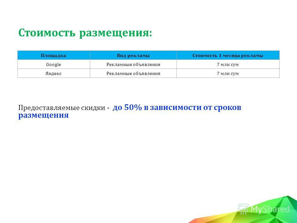 Стоимость размещения: ПлощадкаВид рекламыСтоимость 1 месяца рекламы GoogleРекламные объявления7 млн сум ЯндексРекламные объявления7 млн сум Предоставляемые скидки - до 50% в зависимости от сроков размещения
