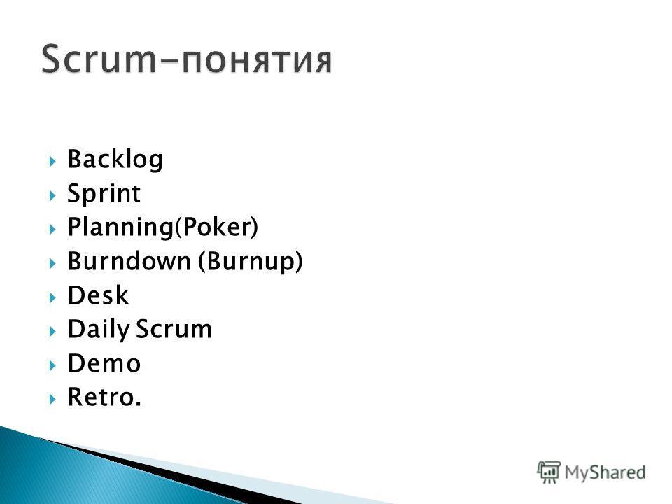 Backlog Sprint Planning(Poker) Burndown (Burnup) Desk Daily Scrum Demo Retro.