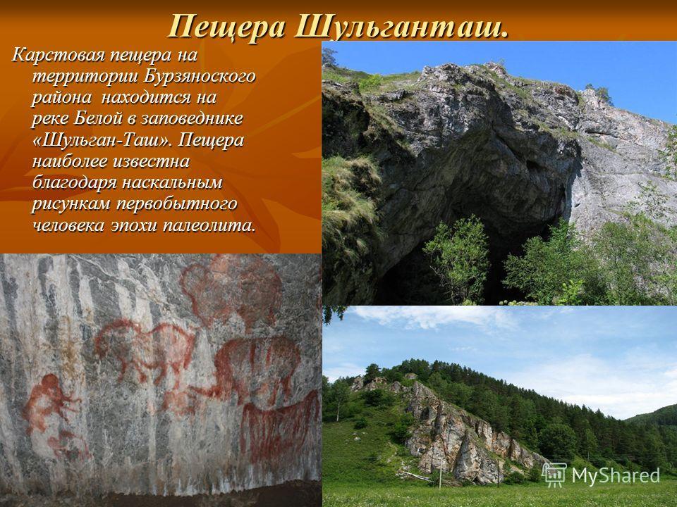Пещера Шульганташ. Карстовая пещера на территории Бурзяноского района находится на реке Белой в заповеднике «Шульган-Таш». Пещера наиболее известна благодаря наскальным рисункам первобытного человека эпохи палеолита. Карстовая пещера на территории Бу