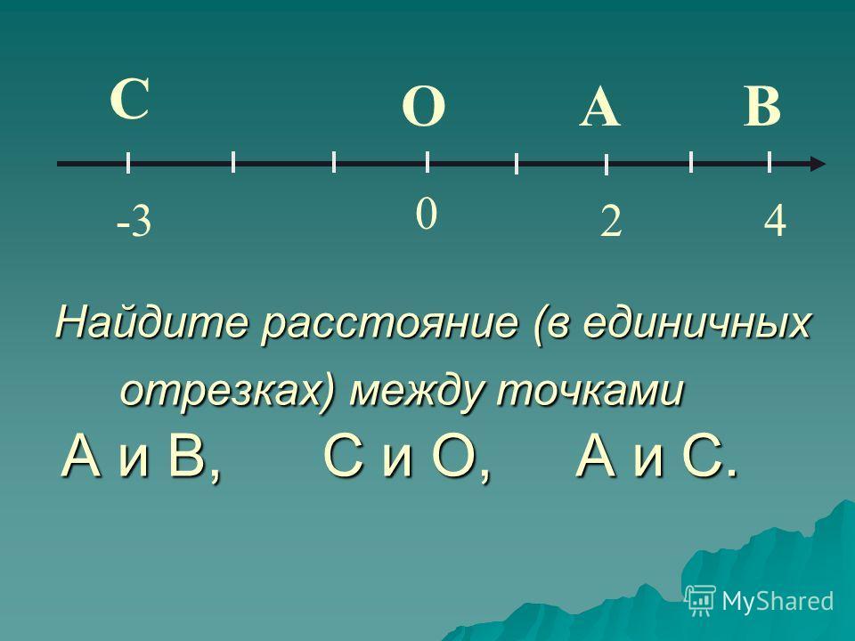 Найдите расстояние (в единичных отрезках) между точками А и В, С и О, А и С. Найдите расстояние (в единичных отрезках) между точками А и В, С и О, А и С. С 0 -3 ОА 2 В 4