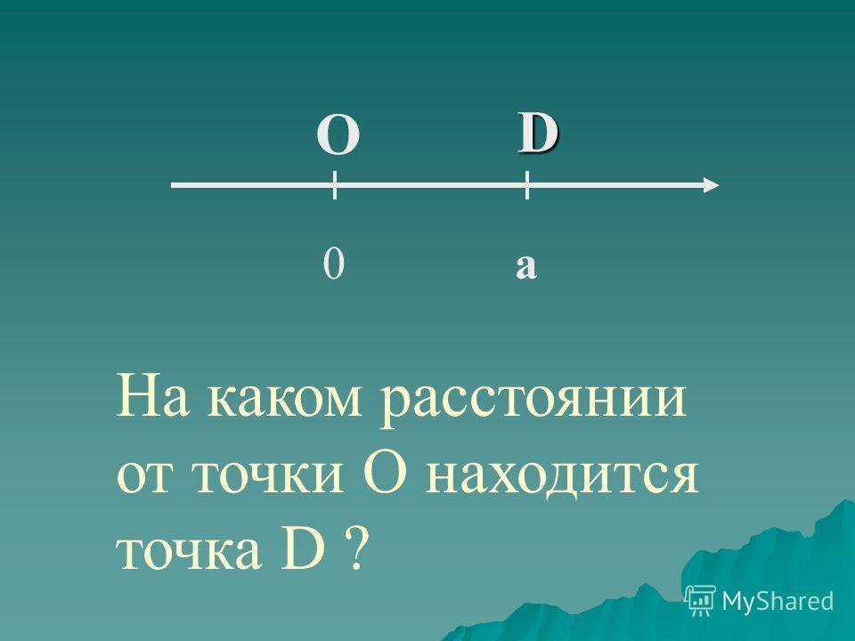 D 0а О На каком расстоянии от точки О находится точка D ?