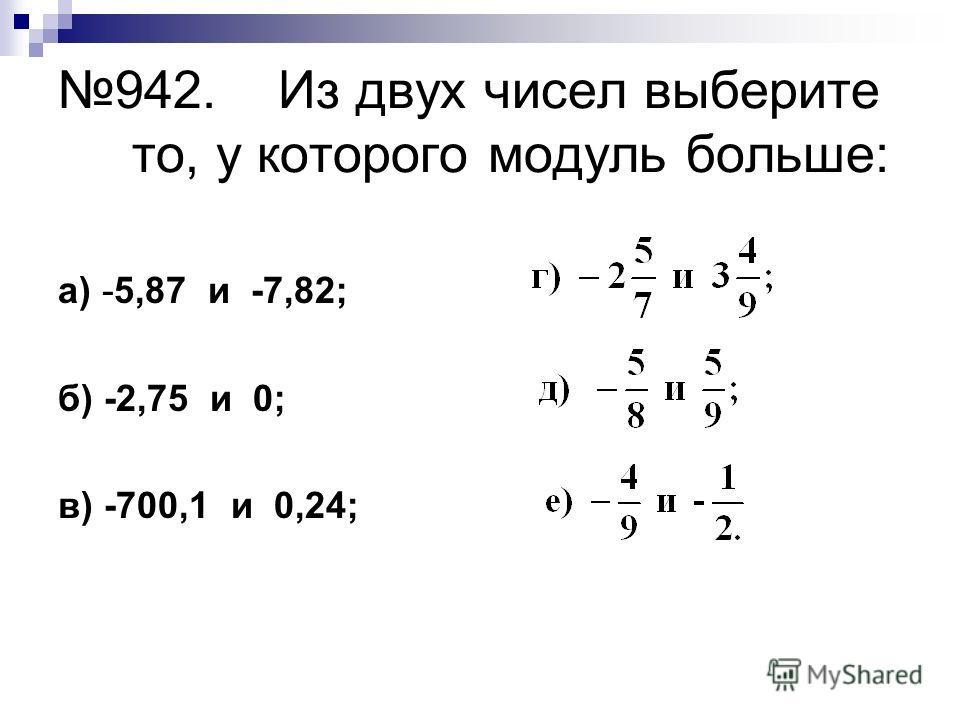 942. Из двух чисел выберите то, у которого модуль больше: а) -5,87 и -7,82; б) -2,75 и 0; в) -700,1 и 0,24;