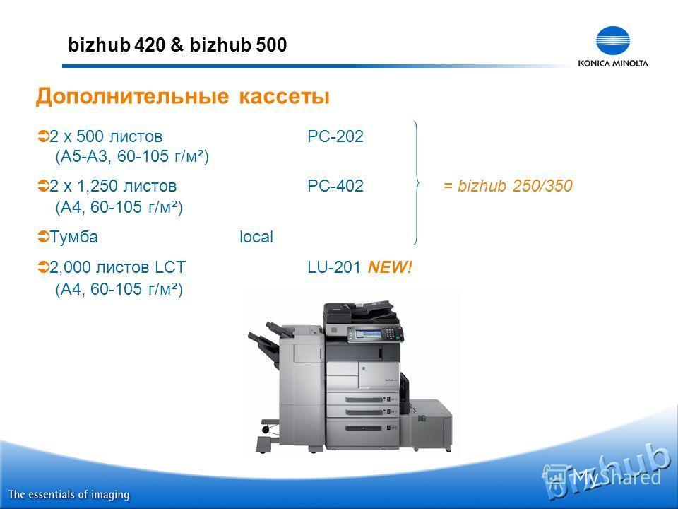 bizhub 420 & bizhub 500 2 x 500 листовPC-202 (A5-A3, 60-105 г/м²) 2 x 1,250 листовPC-402= bizhub 250/350 (A4, 60-105 г/м²) Тумбаlocal 2,000 листов LCTLU-201 NEW! (A4, 60-105 г/м²) Дополнительные кассеты