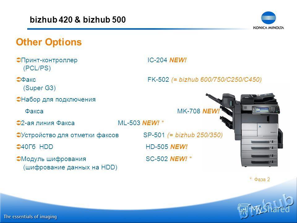 bizhub 420 & bizhub 500 Принт-контроллер IC-204 NEW! (PCL/PS) Факс FK-502 (= bizhub 600/750/C250/C450) (Super G3) Набор для подключения Факса MK-708 NEW! 2-ая линия Факса ML-503 NEW! * Устройство для отметки факсов SP-501 (= bizhub 250/350) 40Гб HDD