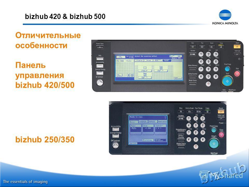 bizhub 420 & bizhub 500 Отличительные особенности Панель управления bizhub 420/500 bizhub 250/350