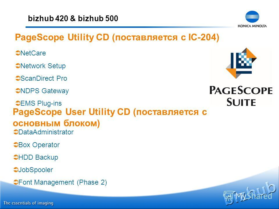 bizhub 420 & bizhub 500 PageScope Utility CD (поставляется с IC-204) NetCare Network Setup ScanDirect Pro NDPS Gateway EMS Plug-ins PageScope User Utility CD (поставляется с основным блоком) DataAdministrator Box Operator HDD Backup JobSpooler Font M