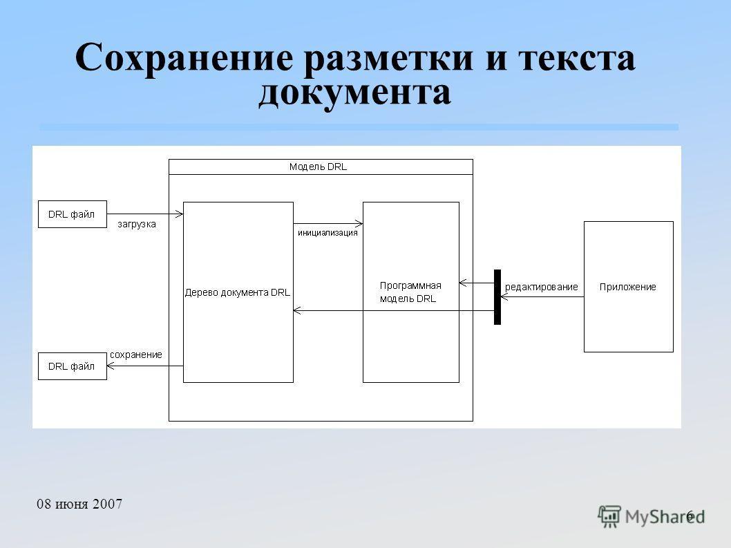 08 июня 2007 6 Сохранение разметки и текста документа