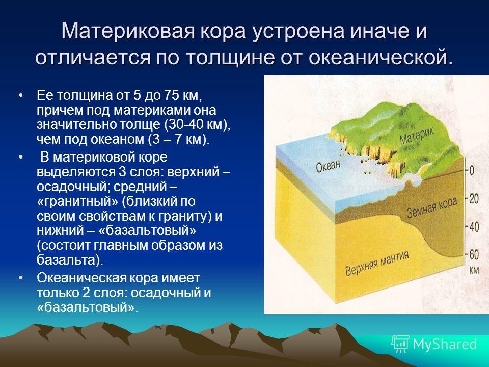 Материковая кора устроена иначе и отличается по толщине от океанической. Ее толщина от 5 до 75 км, причем под материками она значительно толще (30-40 км), чем под океаном (3 – 7 км). В материковой коре выделяются 3 слоя: верхний – осадочный; средний