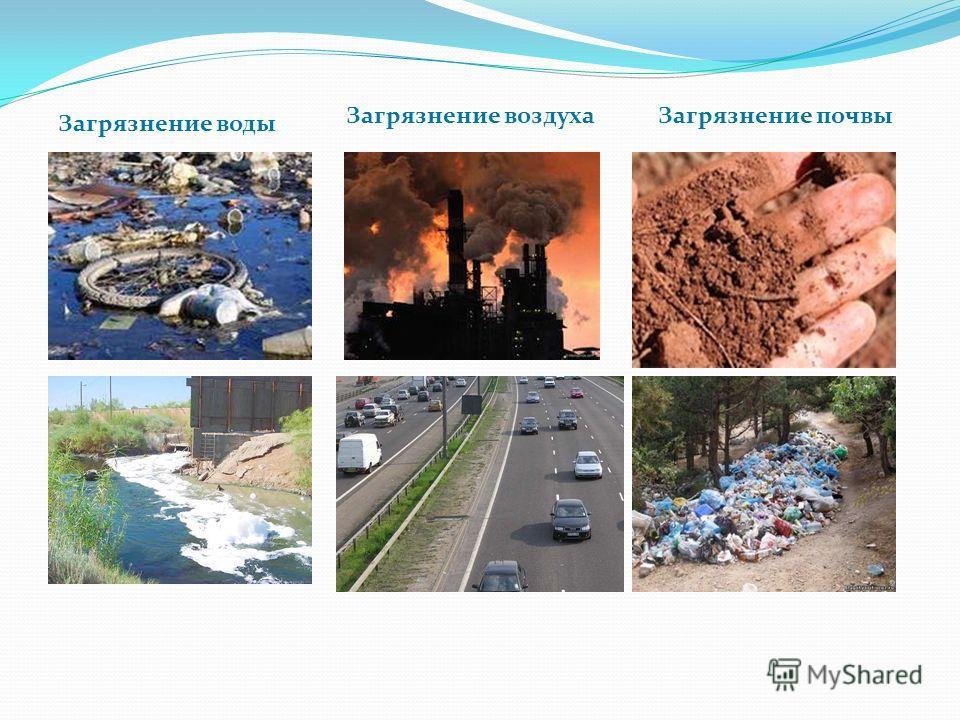 Загрязнение воды Загрязнение воздухаЗагрязнение почвы