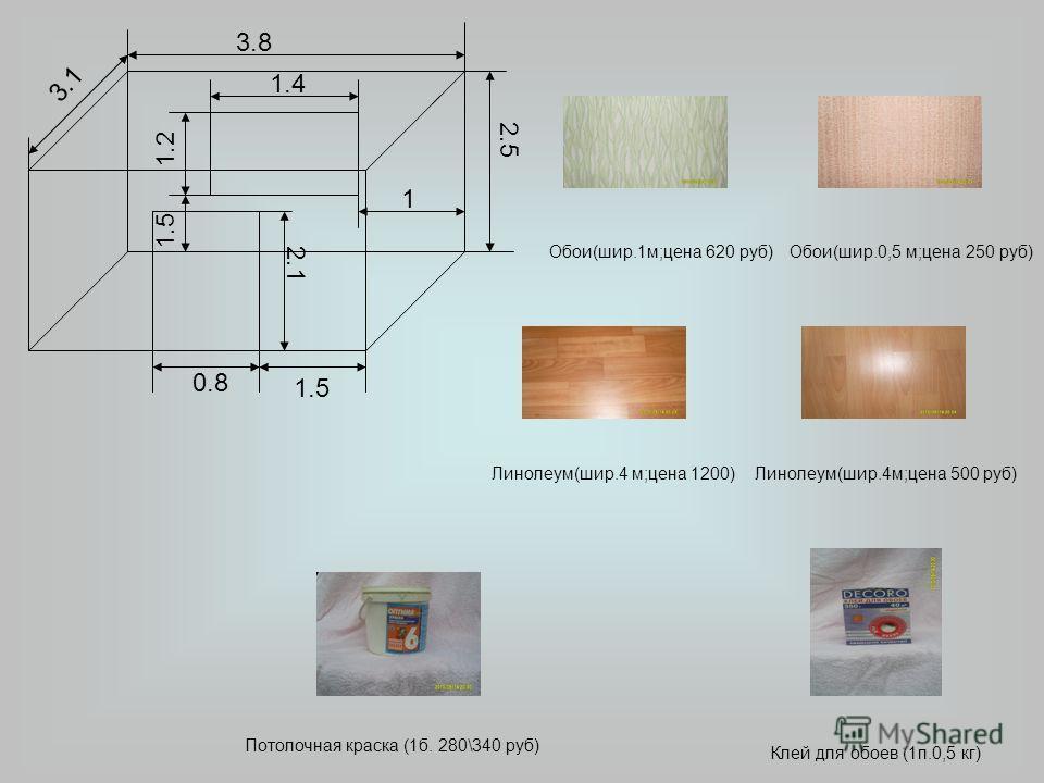 3.8 3.1 2.5 0.8 1.5 2.1 1.4 1.2 1.5 1 Потолочная краска (1б. 280\340 руб) Клей для обоев (1п.0,5 кг) Линолеум(шир.4 м;цена 1200)Линолеум(шир.4м;цена 500 руб) Обои(шир.1м;цена 620 руб)Обои(шир.0,5 м;цена 250 руб)