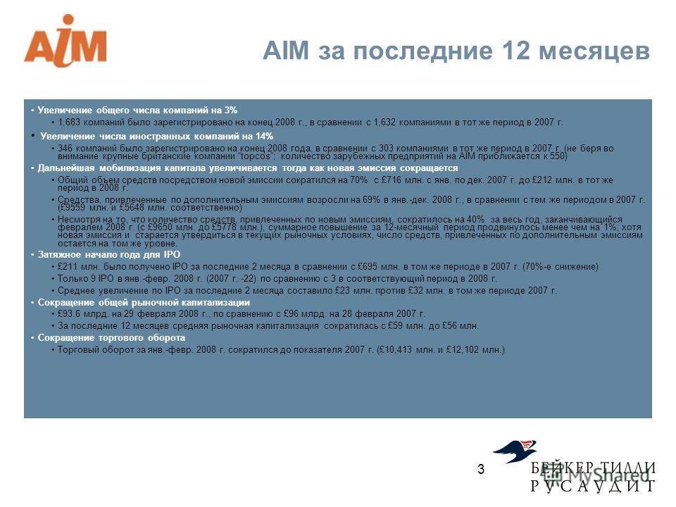 AIM за последние 12 месяцев Увеличение общего числа компаний на 3% 1,683 компаний было зарегистрировано на конец 2008 г., в сравнении с 1,632 компаниями в тот же период в 2007 г. Увеличение числа иностранных компаний на 14% 346 компаний было зарегист