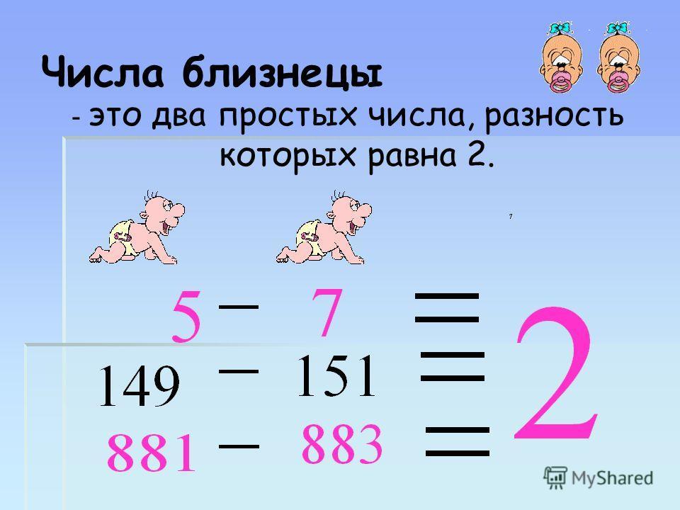 Числа близнецы - это два простых числа, разность которых равна 2.