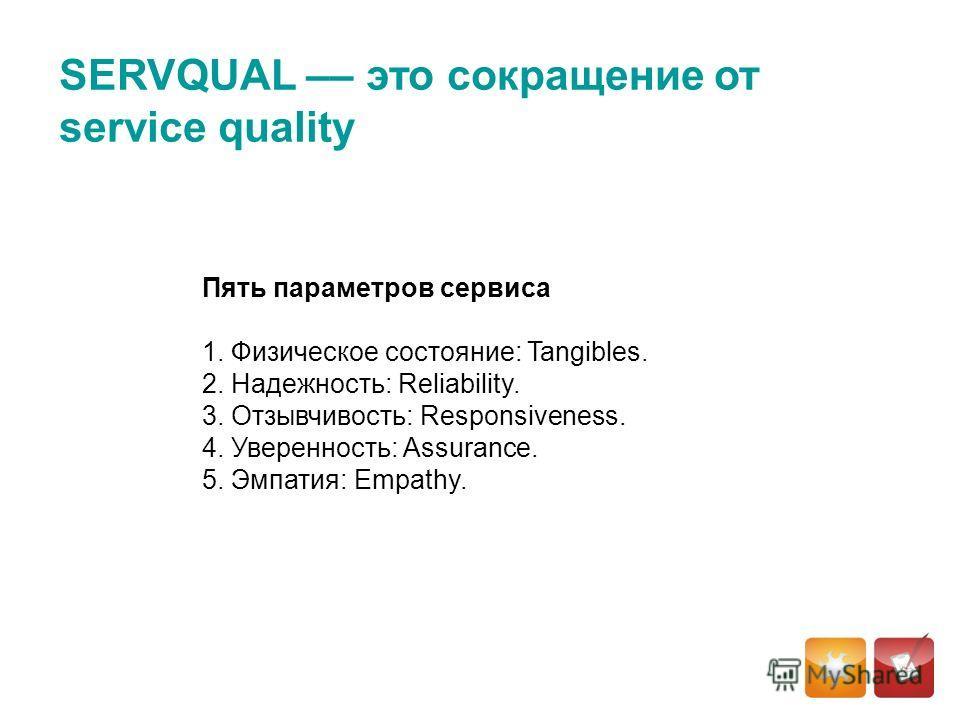 SERVQUAL –– это сокращение от service quality Пять параметров сервиса 1. Физическое состояние: Tangibles. 2. Надежность: Reliability. 3. Отзывчивость: Responsiveness. 4. Уверенность: Assurance. 5. Эмпатия: Empathy.