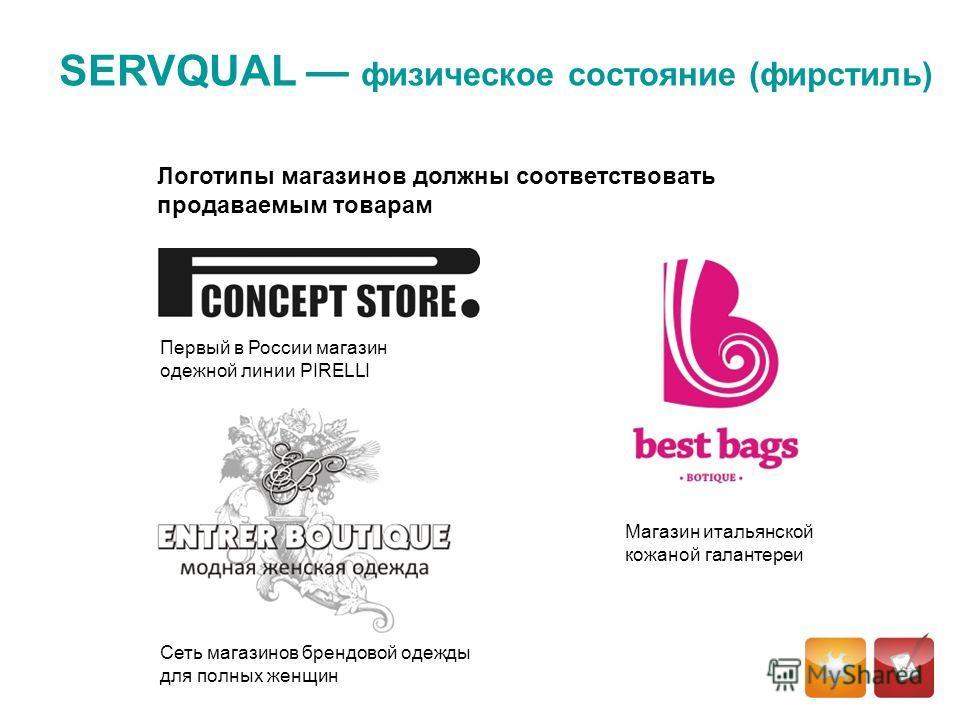 Логотипы магазинов должны соответствовать продаваемым товарам SERVQUAL физическое состояние (фирстиль) Магазин итальянской кожаной галантереи Сеть магазинов брендовой одежды для полных женщин Первый в России магазин одежной линии PIRELLI