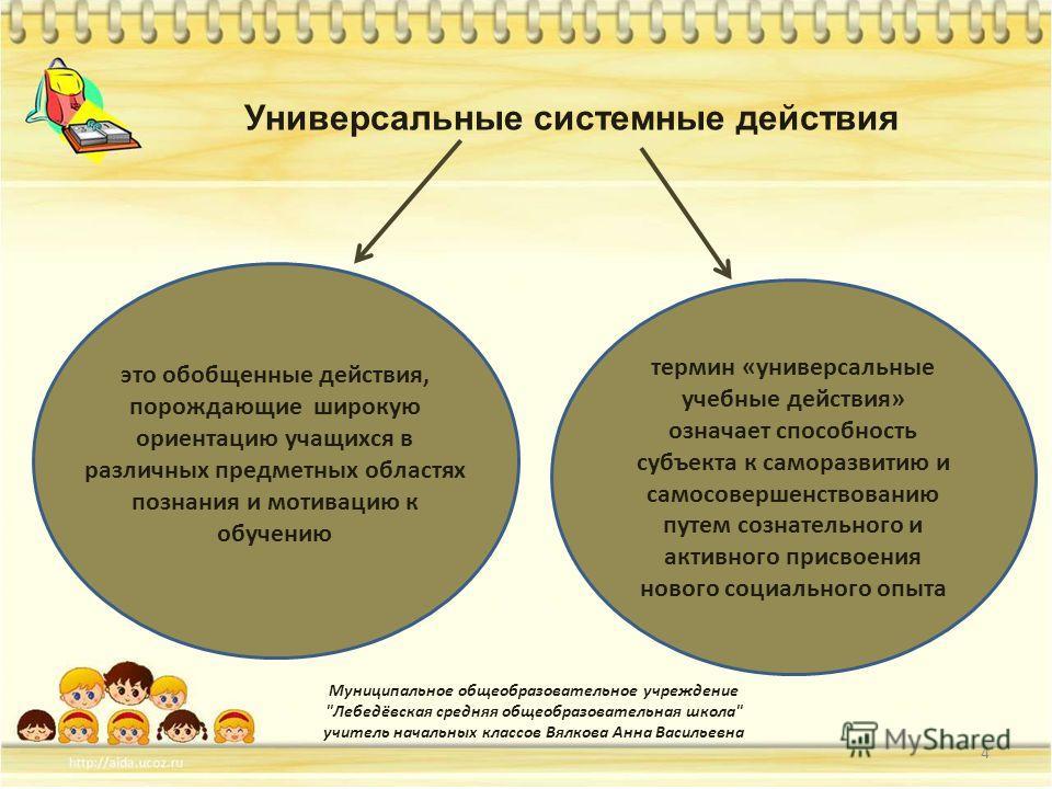Универсальные учебные 4 Муниципальное общеобразовательное учреждение