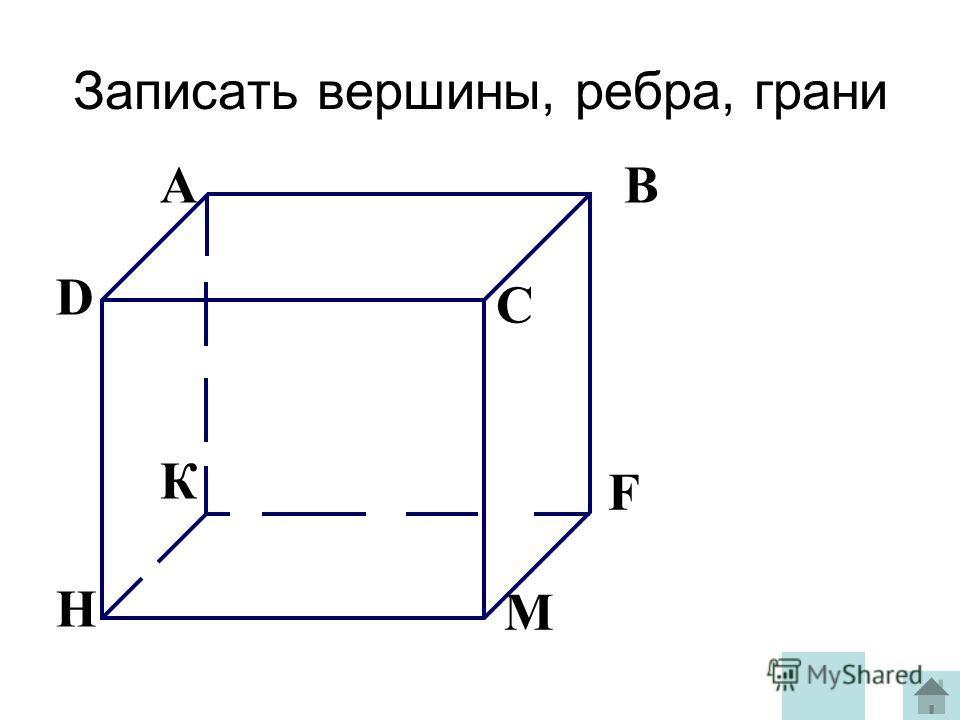 Записать вершины, ребра, грани AB C D К F М H