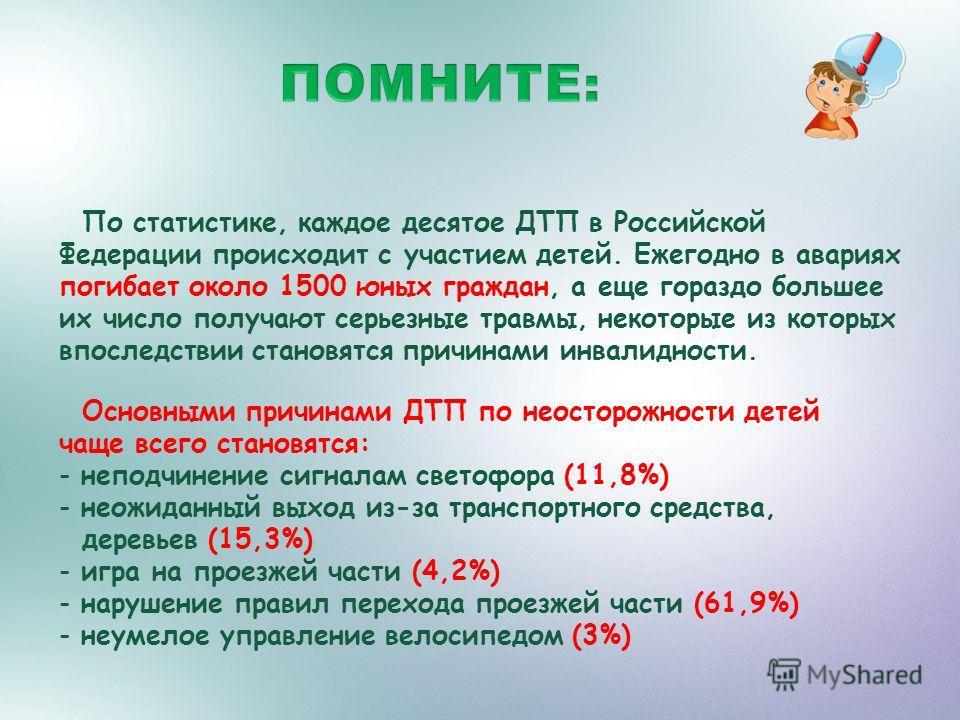 По статистике, каждое десятое ДТП в Российской Федерации происходит с участием детей. Ежегодно в авариях погибает около 1500 юных граждан, а еще гораздо большее их число получают серьезные травмы, некоторые из которых впоследствии становятся причинам