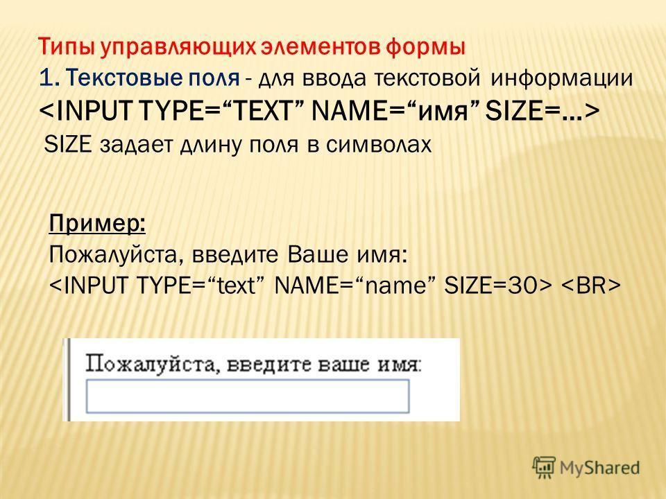 Типы управляющих элементов формы 1. Текстовые поля - для ввода текстовой информации SIZE задает длину поля в символах Пример: Пожалуйста, введите Ваше имя: