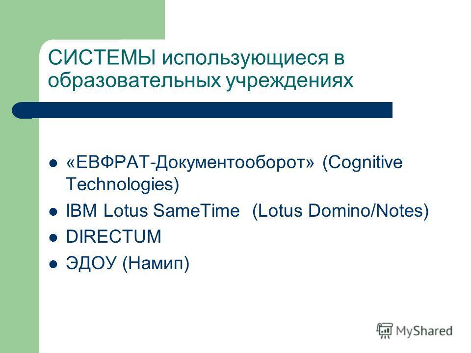 СИСТЕМЫ использующиеся в образовательных учреждениях «ЕВФРАТ-Документооборот» (Cognitive Technologies) IBM Lotus SameTime (Lotus Domino/Notes) DIRECTUM ЭДОУ (Намип)