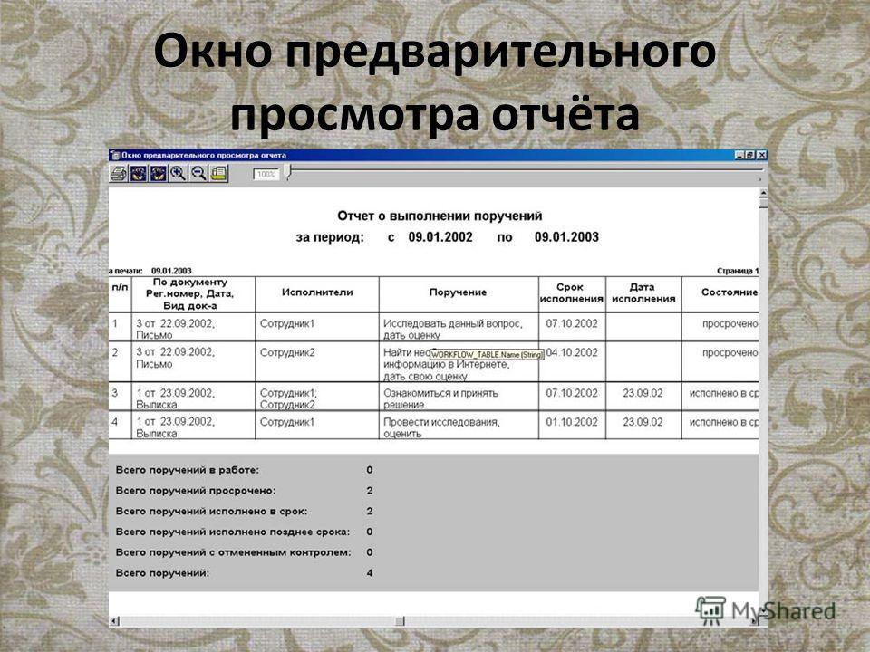 Окно предварительного просмотра отчёта