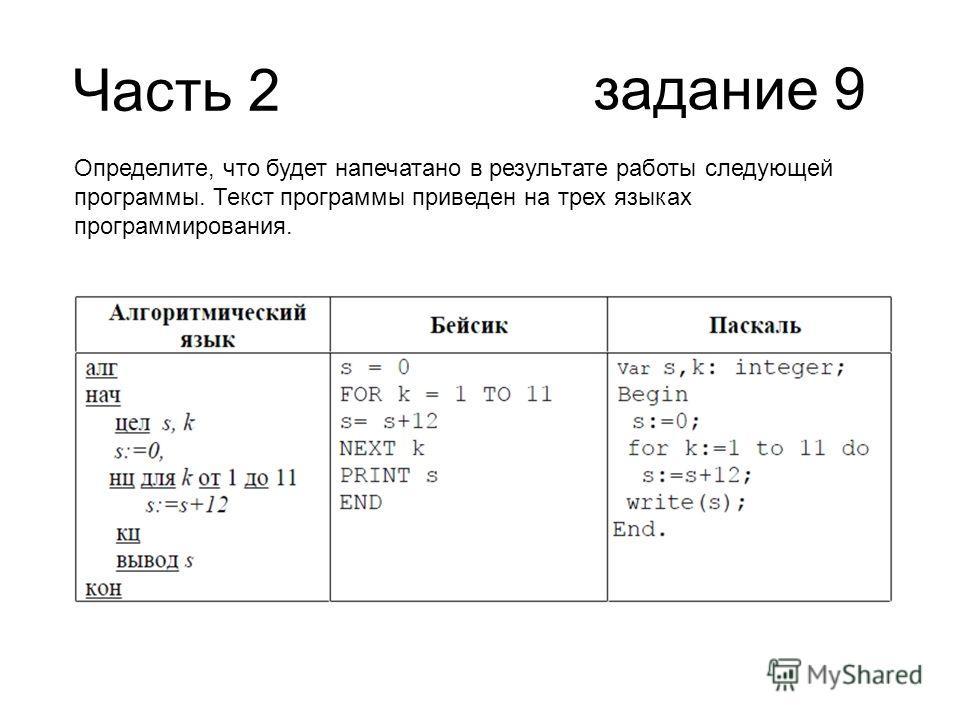 Часть 2 задание 9 Определите, что будет напечатано в результате работы следующей программы. Текст программы приведен на трех языках программирования.