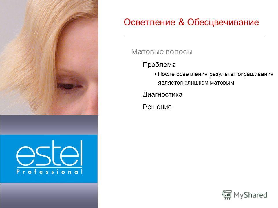 Матовые волосы Проблема После осветления результат окрашивания является слишком матовым Диагностика Решение Осветление & Обесцвечивание