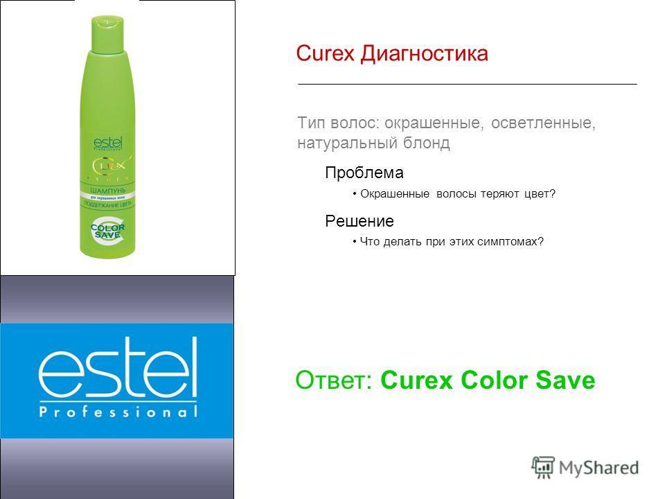 Curex Диагностика Тип волос: окрашенные, осветленные, натуральный блонд Проблема Окрашенные волосы теряют цвет? Решение Что делать при этих симптомах? Ответ: Curex Color Save
