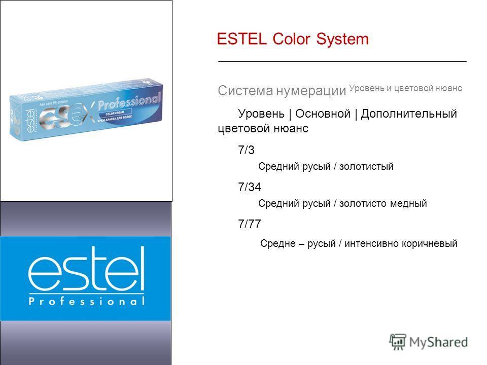 ESTEL Color System Система нумерации Уровень и цветовой нюанс Уровень | Основной | Дополнительный цветовой нюанс 7/3 Средний русый / золотистый 7/34 Средний русый / золотисто медный 7/77 Средне – русый / интенсивно коричневый