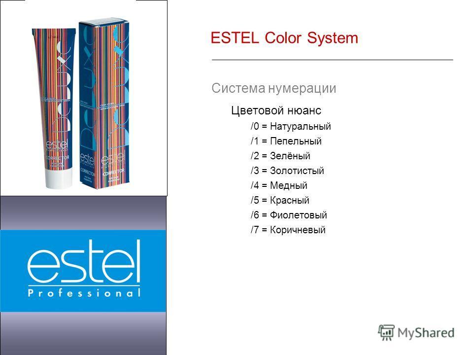ESTEL Color System Система нумерации Цветовой нюанс /0 = Натуральный /1 = Пепельный /2 = Зелёный /3 = Золотистый /4 = Медный /5 = Красный /6 = Фиолетовый /7 = Коричневый