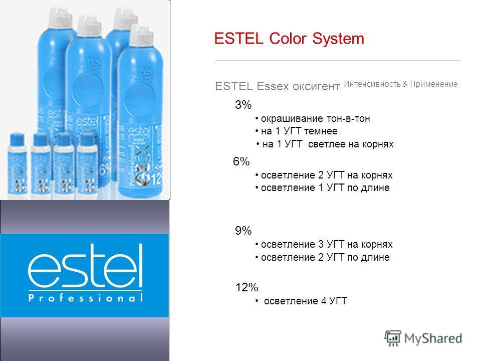 ESTEL Color System ESTEL Essex оксигент Интенсивность & Применение 3% окрашивание тон-в-тон на 1 УГТ темнее на 1 УГТ светлее на корнях 6% осветление 2 УГТ на корнях осветление 1 УГТ по длине 9% осветление 3 УГТ на корнях осветление 2 УГТ по длине 12%