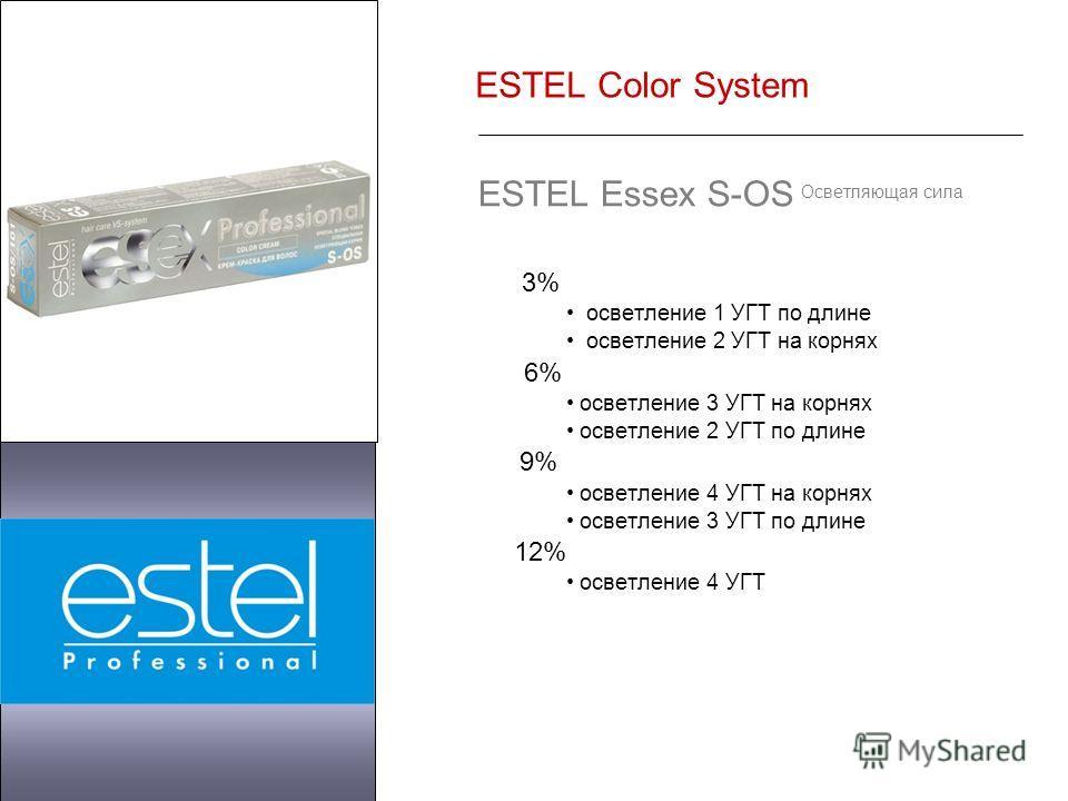 ESTEL Color System ESTEL Essex S-OS Осветляющая сила 3% осветление 1 УГТ по длине осветление 2 УГТ на корнях 6% осветление 3 УГТ на корнях осветление 2 УГТ по длине 9% осветление 4 УГТ на корнях осветление 3 УГТ по длине 12% осветление 4 УГТ