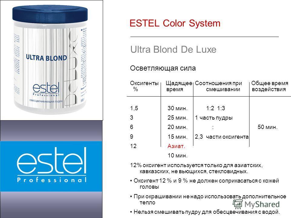 ESTEL Color System Ultra Blond De Luxe Осветляющая сила Оксигенты Щадящее Соотношения при Общее время % время смешивании воздействия 1,5 30 мин. 1:2 1:3 3 25 мин. 1 часть пудры 6 20 мин. : 50 мин. 9 15 мин. 2,3 части оксигента 12 Азиат. 10 мин. 12% о