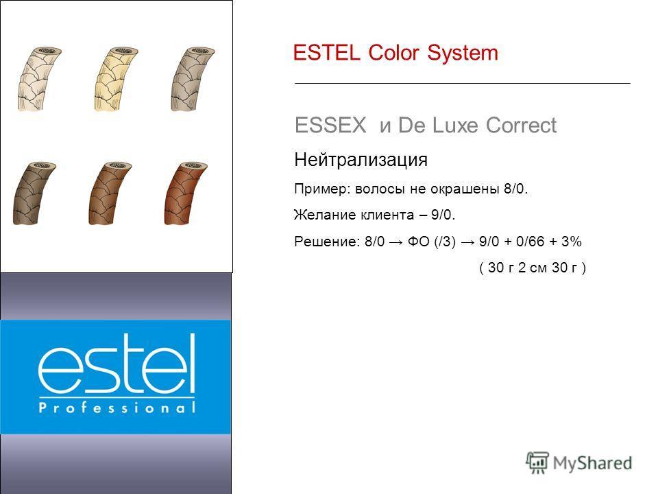 ESTEL Color System ESSEX и De Luxe Correct Нейтрализация Пример: волосы не окрашены 8/0. Желание клиента – 9/0. Решение: 8/0 ФО (/3) 9/0 + 0/66 + 3% ( 30 г 2 см 30 г )
