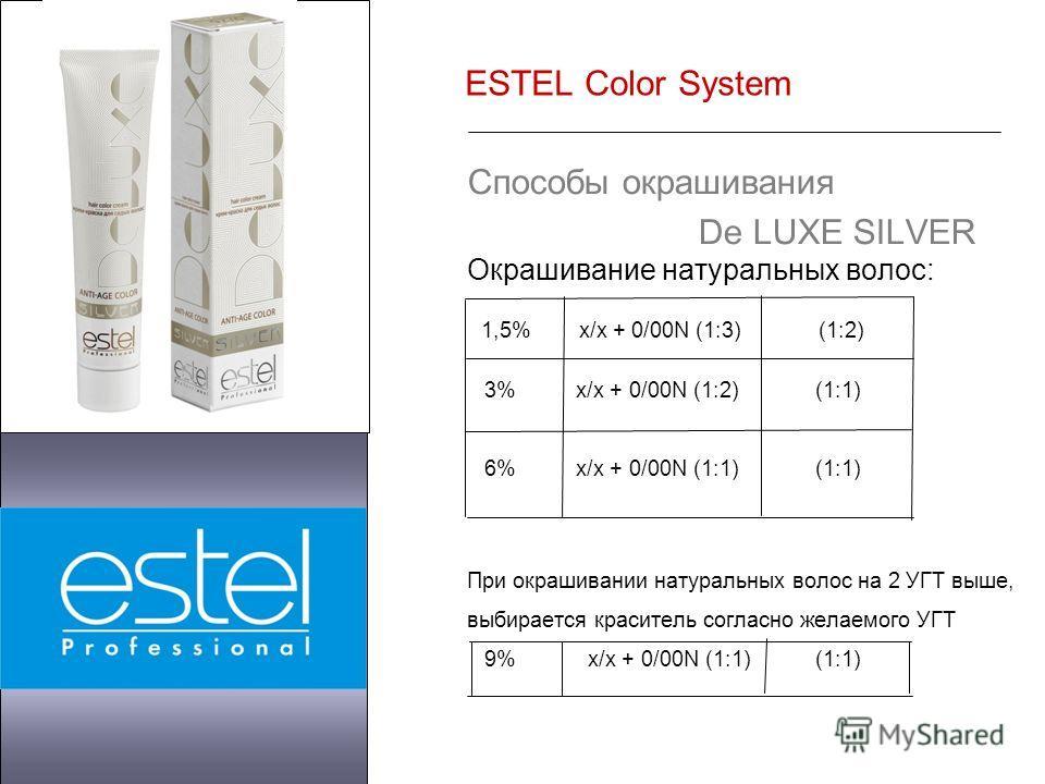 ESTEL Color System Способы окрашивания De LUXE SILVER Окрашивание натуральных волос: 1,5% х/х + 0/00N (1:3) (1:2) 3% х/х + 0/00N (1:2) (1:1) 6% х/х + 0/00N (1:1) (1:1) При окрашивании натуральных волос на 2 УГТ выше, выбирается краситель согласно жел