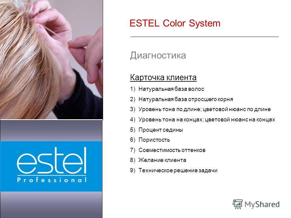 ESTEL Color System Диагностика Карточка клиента 1)Натуральная база волос 2)Натуральная база отросшего корня 3)Уровень тона по длине; цветовой нюанс по длине 4)Уровень тона на концах; цветовой нюанс на концах 5)Процент седины 6)Пористость 7)Совместимо